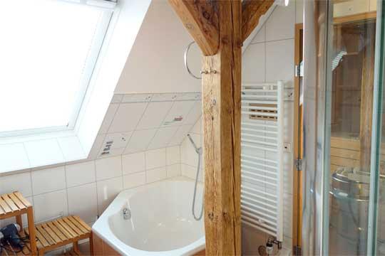die sanit ren anlagen im dachgeschoss im ferienhaus elbwiesenhof. Black Bedroom Furniture Sets. Home Design Ideas